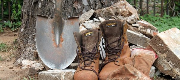 shovel, boots and gloves